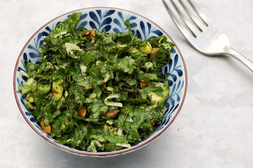 Lemon Massaged Kale Salad with Coconut Avocado Dressing by Eve Fox, the Garden of Eating, copyright 2014