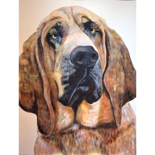 "Pita, the Bloodhound. 38""x50"", acrylic on paper. I never imagined myself painting pet portraits, but I sure am loving it!"