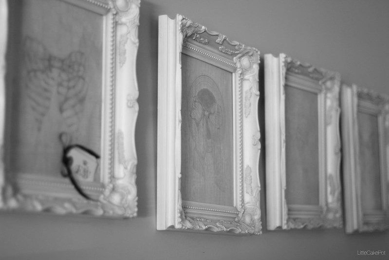 framed painting living room b&w