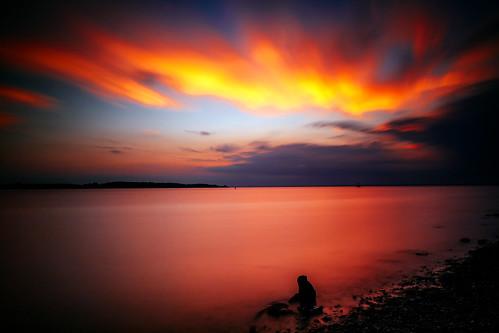 sunset summer sun ny newyork water clouds evening bay glow waterfront longisland shore afterglow