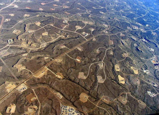 arial view of fracked land