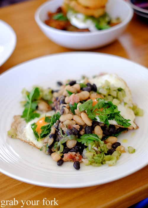 Morcilla and butifarra sausages with white and black beans at Brighton the Corner, Petersham