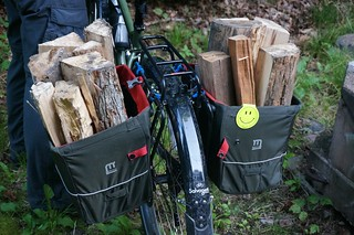 Grocery panniers hauling firewood
