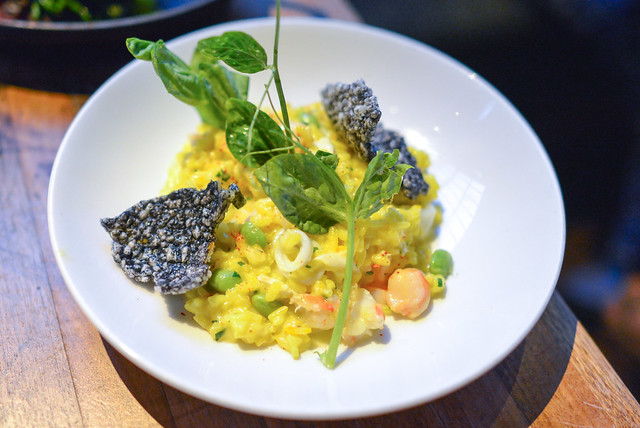 saffron risotto blue crab, shrimp, sword squid, soy beans, squid ink rice crackers