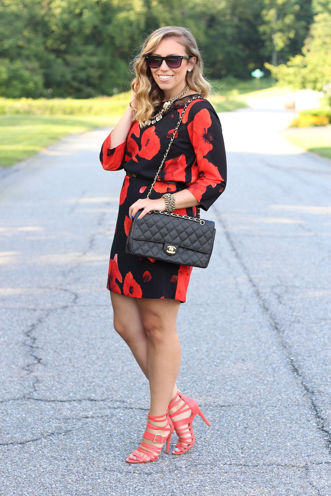 Dark Blooms Dress | Red Strappy Sandals | Outfit | #LivingAfterMidnite