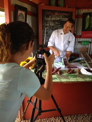 HFFF 3- Tierra filming Chef Marc McDowell making sweet potato farms at the Kumu Farms farm stand at Maui Tropical Plantation