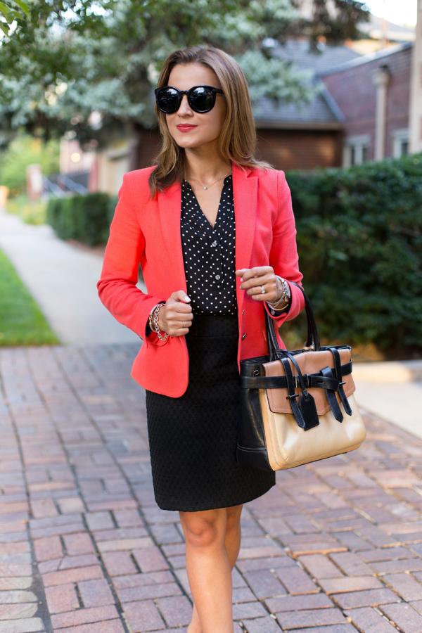 Bright blazer work outfit