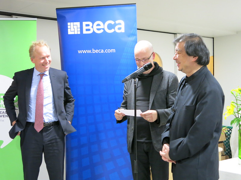 Publisher Sam Elworthy, author Andrew Barrie and Shigeru Ban
