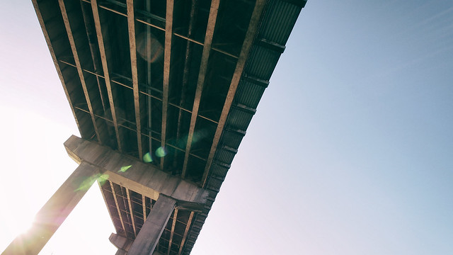 Underneath the Oak Street Bridge
