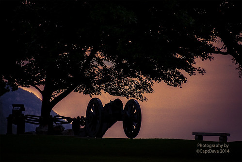 United States Military Academy West Point Rev War Gun and Great Chain Sunset HDR 6X4