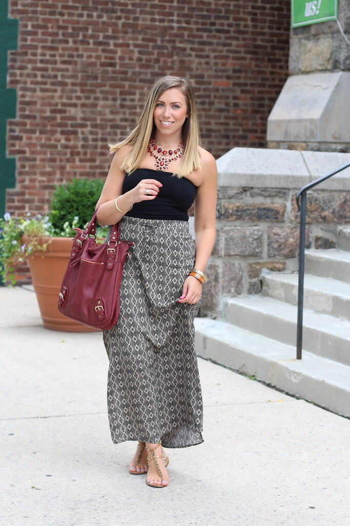 Printed Maxi Skirt | Burgundy Accessories | Outfit | #LivingAfterMidnite