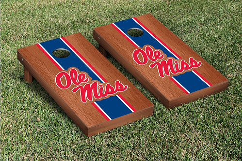 Ole Miss Rebels Cornhole Game Set Rosewood Stained Version