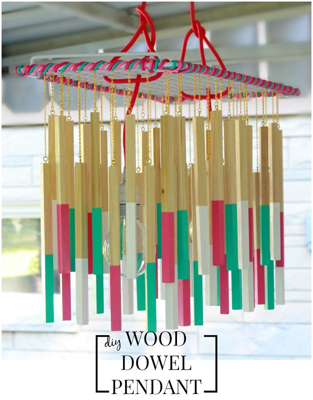 how to make a wood dowel pendant light via Kristina J blog