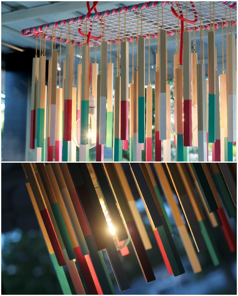 how to make a diy dowel chandelier light tutorial via Kristina J blog
