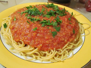 Spaghetti with Red Lentil Sauce