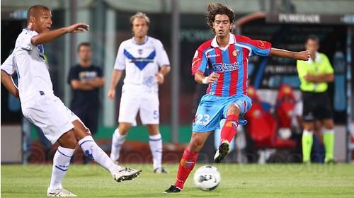Moretti in Catania-Brescia, agosto 2011, sua ultima presenza in rossazzurro.
