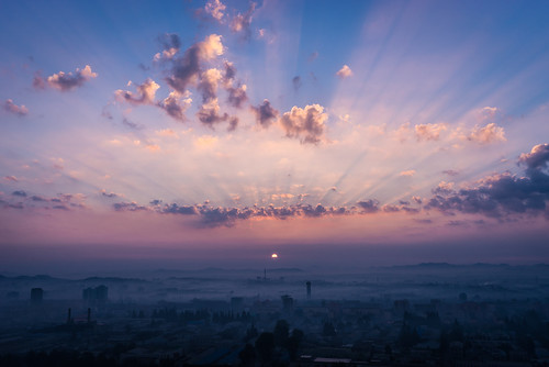 morning sky sun beautiful clouds sunrise heaven 100v10f korea rays northkorea pyongyang