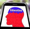 Education On Brain On Smartphone Showing Human Wisdom
