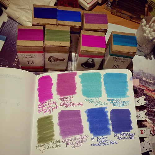And suddenly I have a pretty decent collection of organics studio inks #ink #fountainpen #organicsstudio #fpgeeks #colorful #inkswab #test #inkjournal #posypink #burgundy #lavender #julesverne #emilydickenson #janeausten #violet #nickel #copper #green #pu