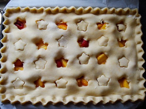 Peach Melba Slab Pie