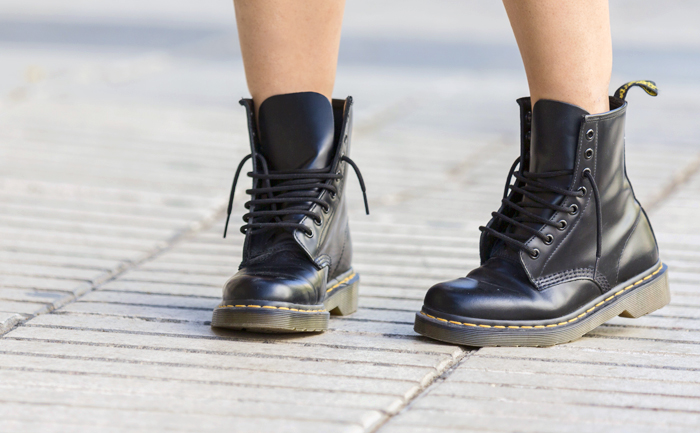 street style barbara crespo punk style C&A shirt plaid doc martens boots fashion blogger outfit blog de moda