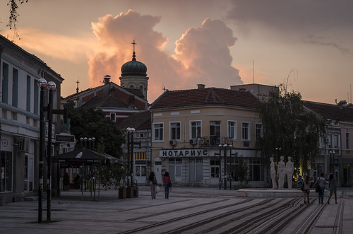 city travel sunset church clouds square main bulgaria vidin