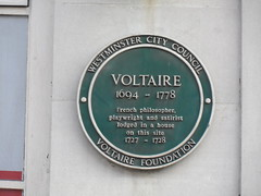 Photo of Voltaire green plaque