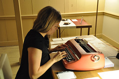 Ehryn using IBM Selectric Typewritter