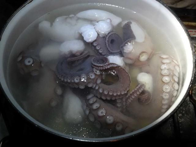 Le poulpe en cours de cuisson