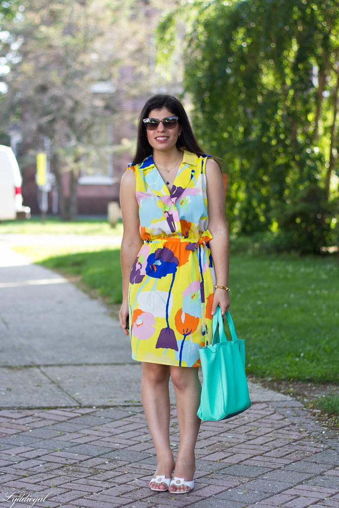 floral print dress, mint leather tote, white slides.jpg