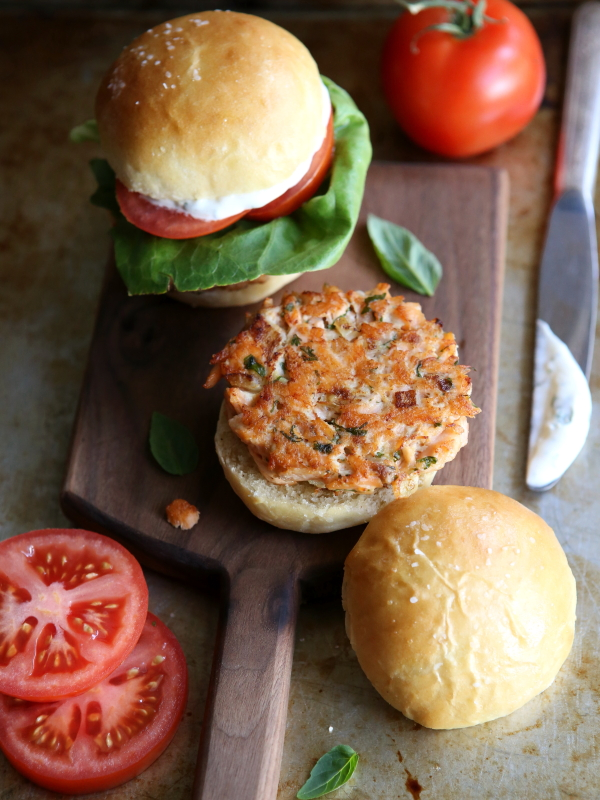 Salmon Cake Sliders from completelydelicious.com