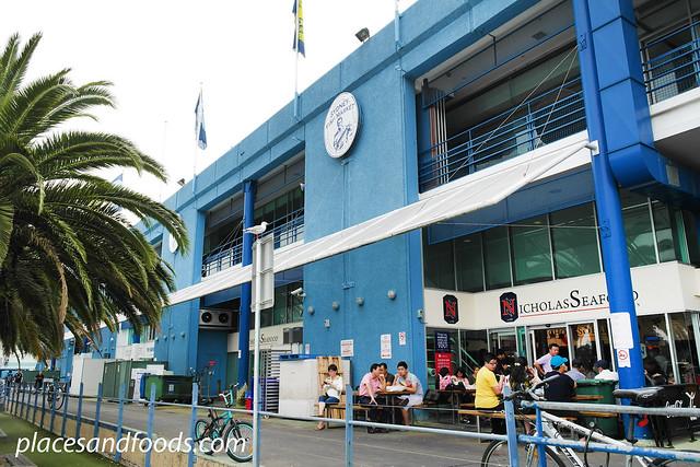 fish market blue building