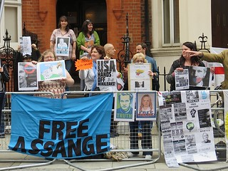 Vigil for Julian Assange outside the Ecuadorian Embassy in London, on the 2nd anniversary of his asylum request, June 19, 2014