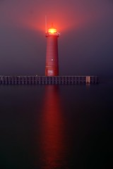 North Pier Light in fog