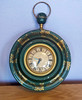 Vintage Mid Century green and gold hand painted tole clock