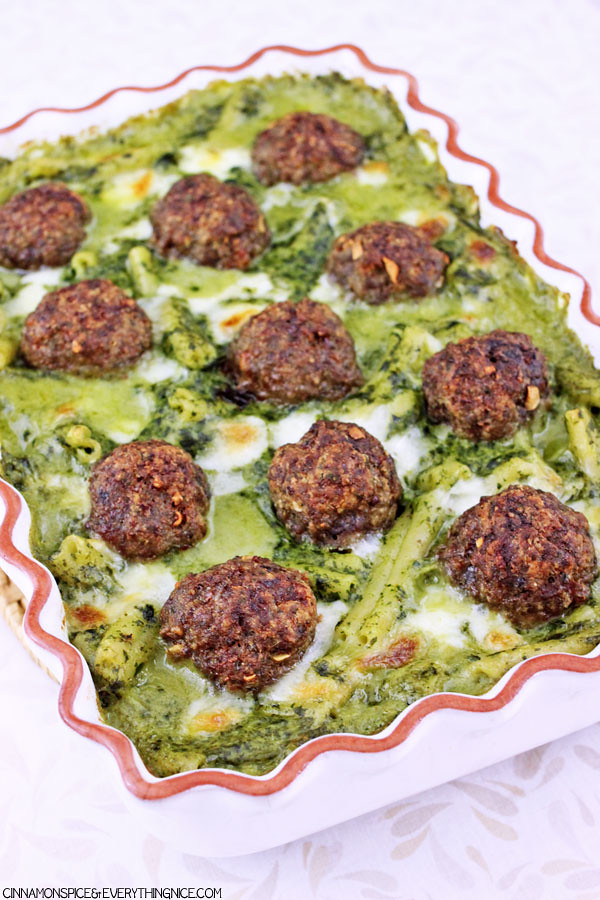 Baked Meatballs & Pasta in Parmesan Spinach Sauce
