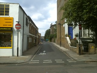 Looking up Wolsey Mews from Gaisford street
