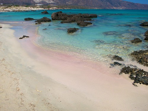 Beautiful beach at Elafonisi with pink sand