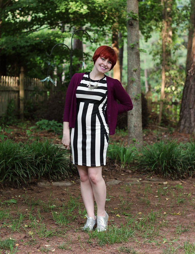 Striped Bodycon Dress, Purple Cardigan, and Silver Cutout Oxford Shoes