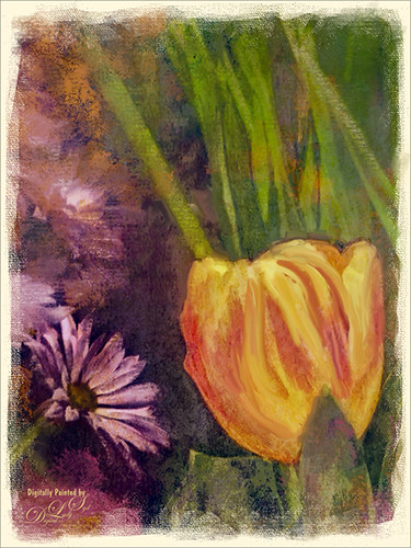 Image of a yellow tulip painted in Photoshop