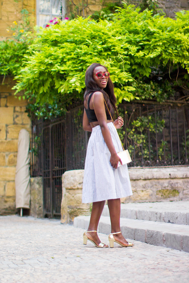 how to wear the MTWTFSS Weekday Ray midi pinstripe skirt
