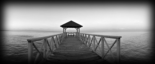 ocean blackandwhite panorama beach water sunrise pier paradise