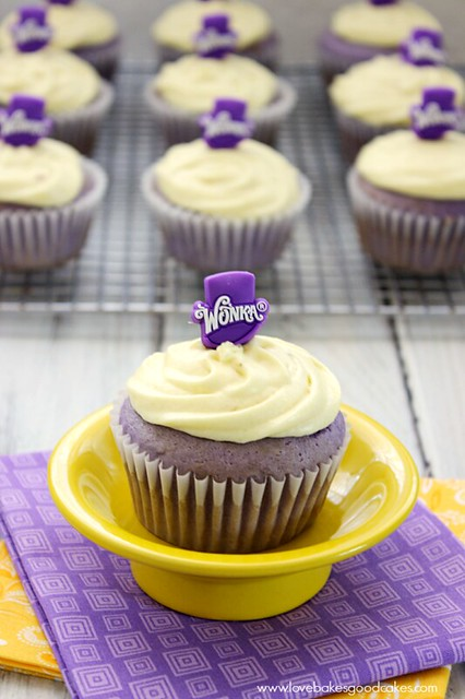 Grape Cupcakes with Banana Icing #Wonkafy #desserts #cupcakes