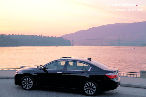 HomoCulture.ca posted a photo:	The sleek and elegant 2014 Honda Accord Hybrid in Vancouver's iconic Stanley Park with the Lions Gate Bridge in the background.