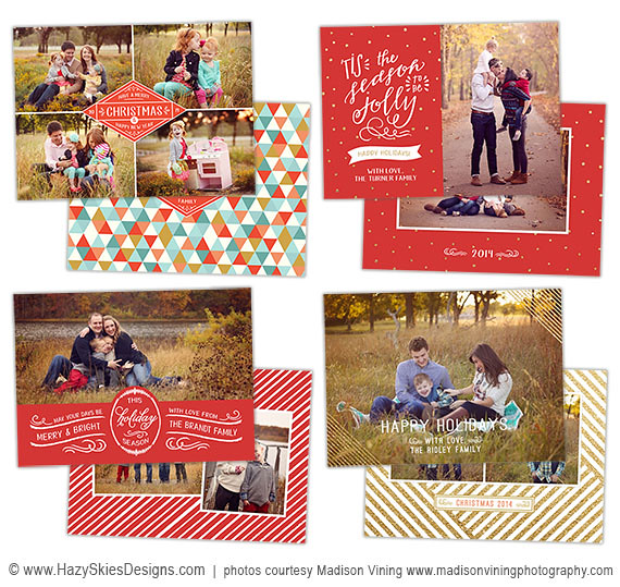 christmas card templates for photographers wwwhazyskiesdesignscom - Photoshop Christmas Card Templates