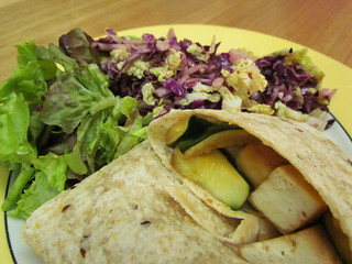 Teriyaki Tofu Wraps; Red Cabbage Slaw with Black Vinegar Dressing