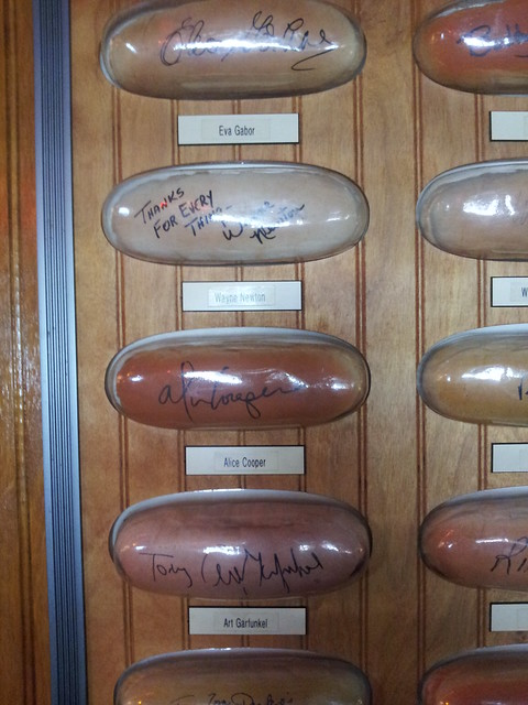 Signed buns at Tony Packo's, including Wayne Newton, Alice copper, & art garfunkel