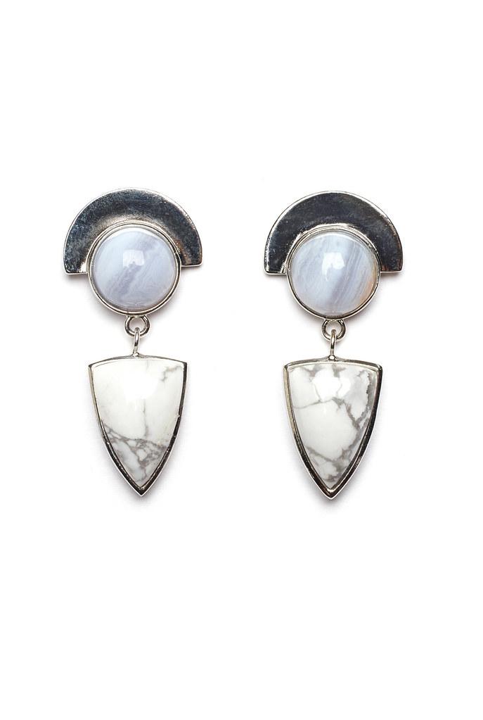 Howlite Shield Earring