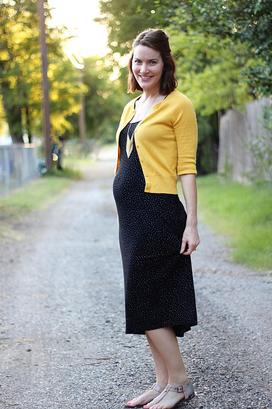 black-polka-dot-dress-yellow-sweater-4