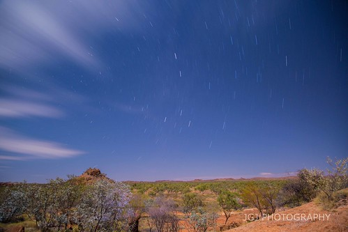 star trails at the granite mine just out side mount isa